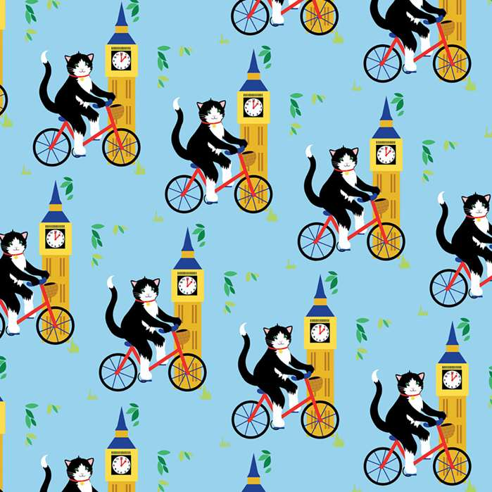Big Ben's Cat : Get your hands on Vicky Scott bright designs on Rewrapped's eco-friendly paper