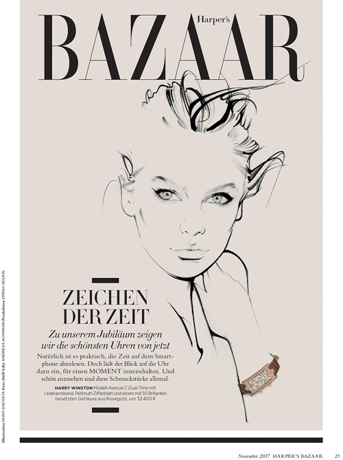 Graceful drawings are used in a Harper's Bazaar jewellery