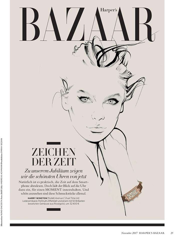 Graceful drawings are used in a Harper's Bazaar jewellery