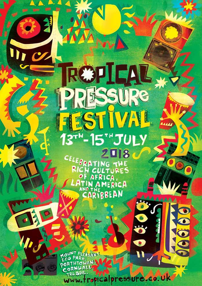 Lee Hodges creates a festival poster for a 2018 TP Festival Summer event in Cornwall