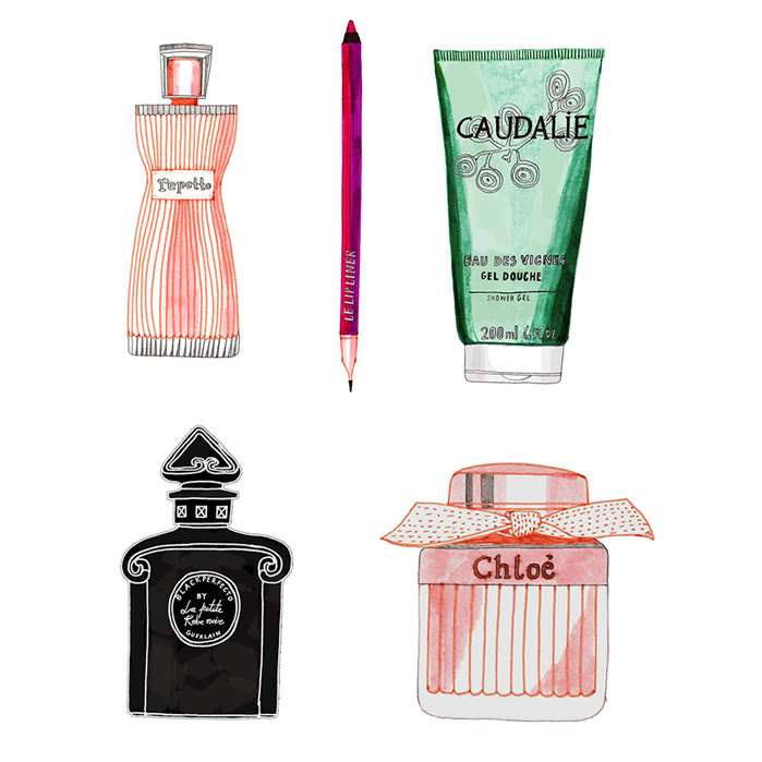 Zoe More O'Ferrall illustrates products for a beauty feature in the French Stylist Magazine