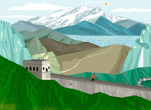 The Great Wall Running Illustration