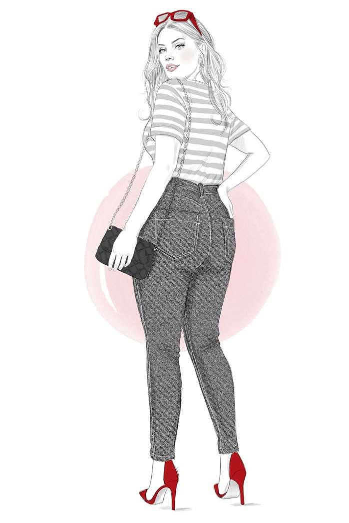 Elegant lady fashion sketch