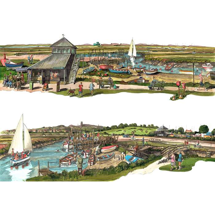 Two Views : Another splendid two view illustration of the Norfolk coast by Liam O'Farrell