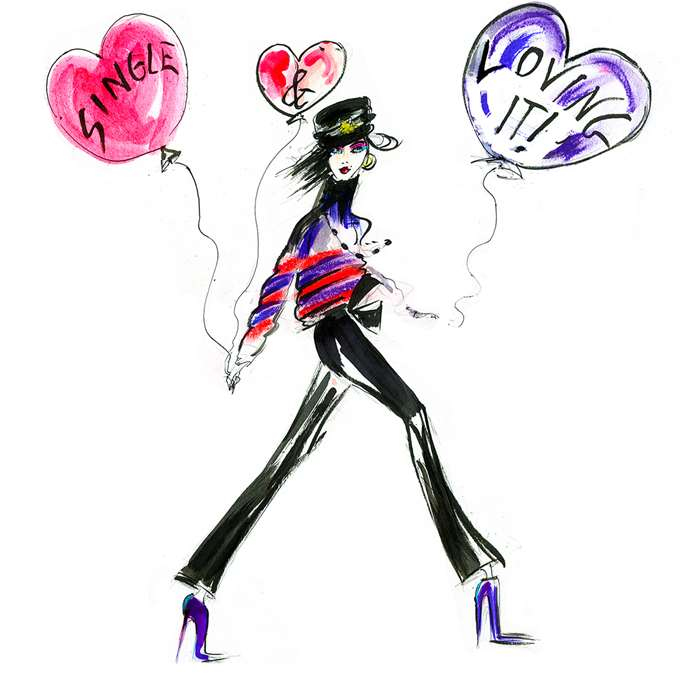 Fashion Sketch of woman with love balloons