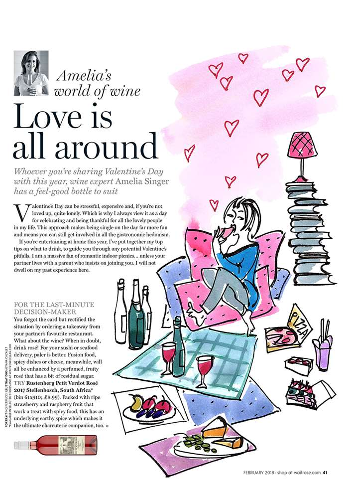 Illustrated by Alyana Cazalet, Waitrose Magazine have the perfect wine suggestions for your Valentine's meal