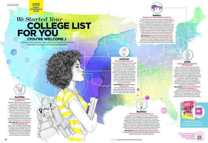 Seventeen Magazine commission Tracy Turnbull for an illustrated backdrop for a university feature