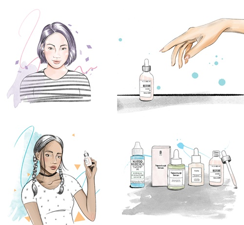 Facial Serums : urban outfitters ask Victoria Skovran for some beauty illustrations