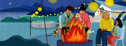 The March issue of Brio magazine includes a cosy illustration by Decue Wu