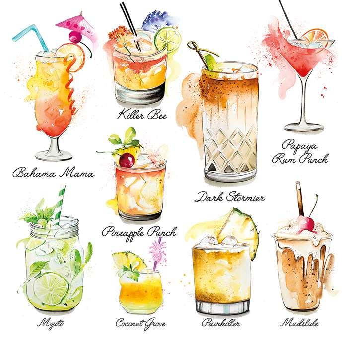 Caribbean Cocktails Watercolour Painting