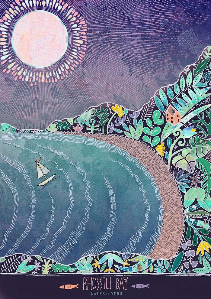 Decorative Illustration of Rhossili Bay