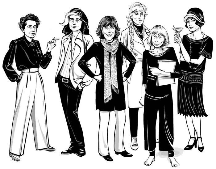 Black & white drawing of female writers