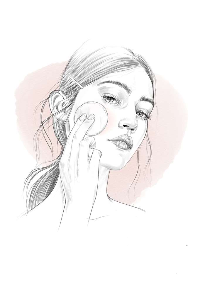 Line drawing of woman applying facial