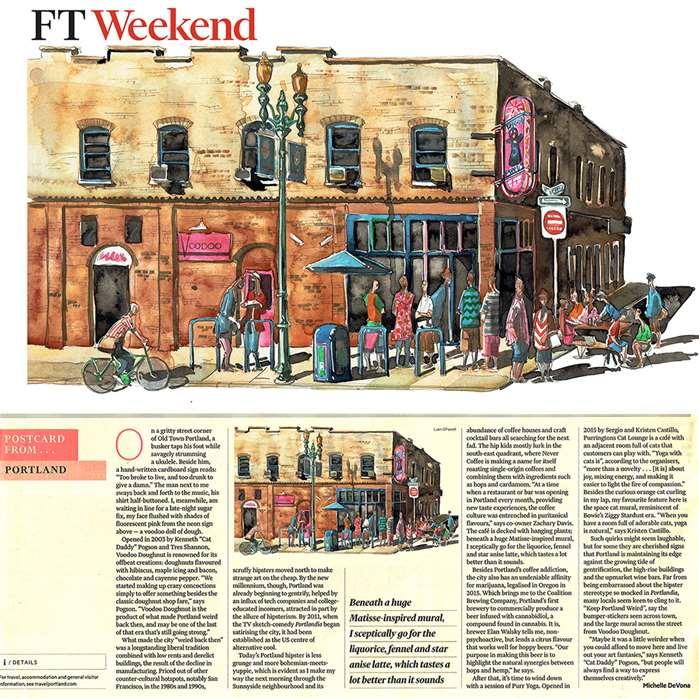 Editorial Illustration Of The Voodoo Doughnut Bar