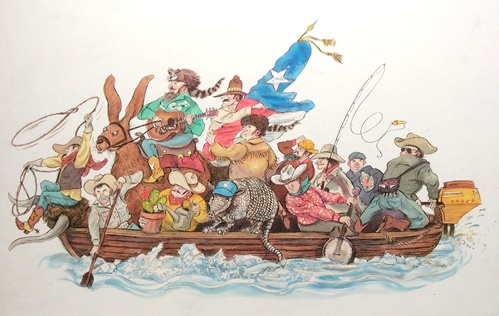 Humorous illustration of people in boat