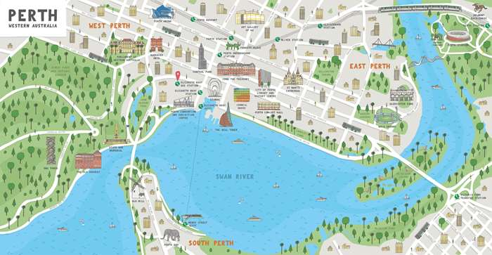 Mural illustration of perth city map