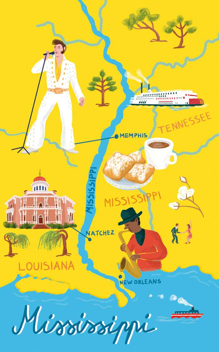Illustrated Map of Mississippi