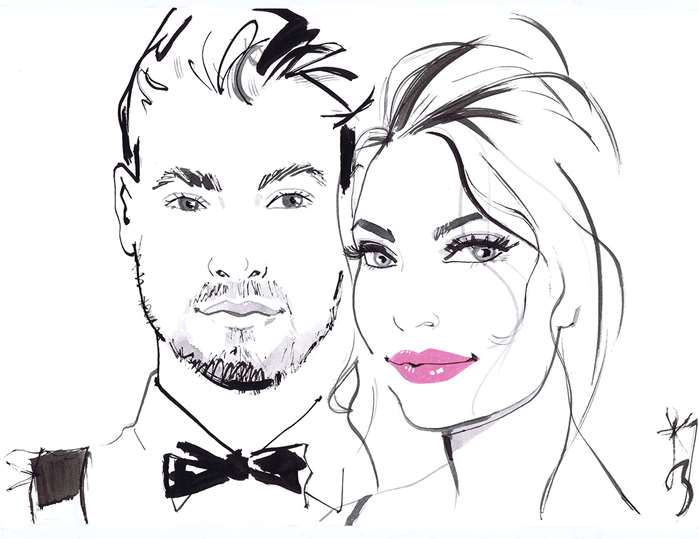 Fashion drawing of couple