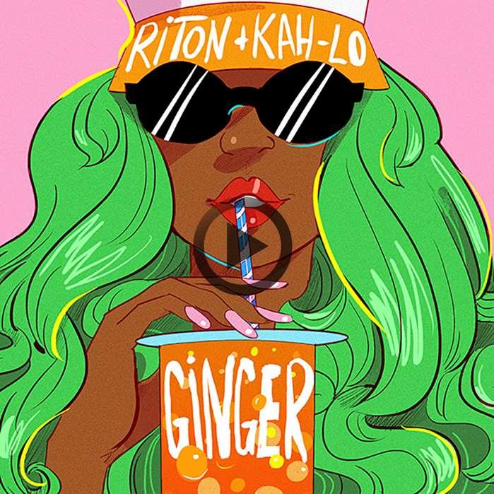 Pop art of girl drinking ginger juice
