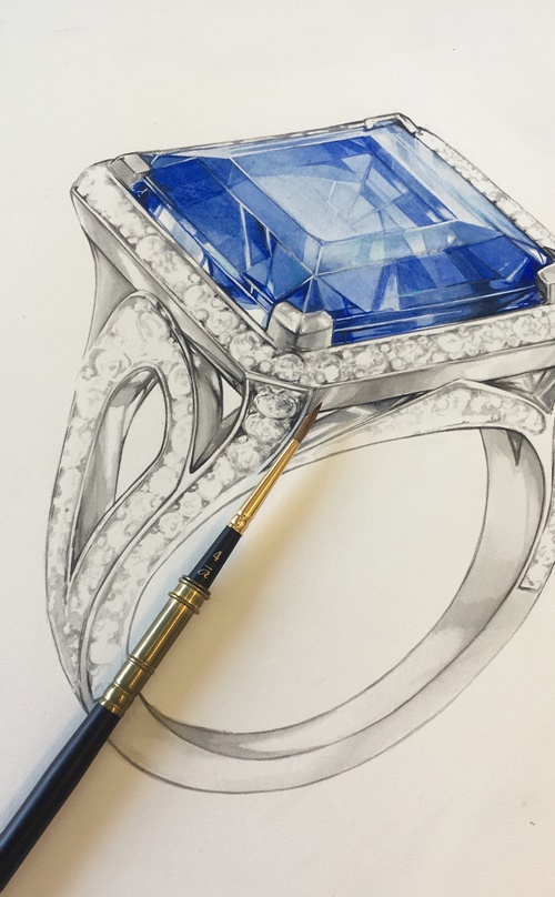 Pencil sketch of ring with blue stone