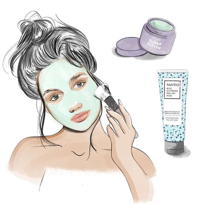 Beauty illustration of woman applying facial
