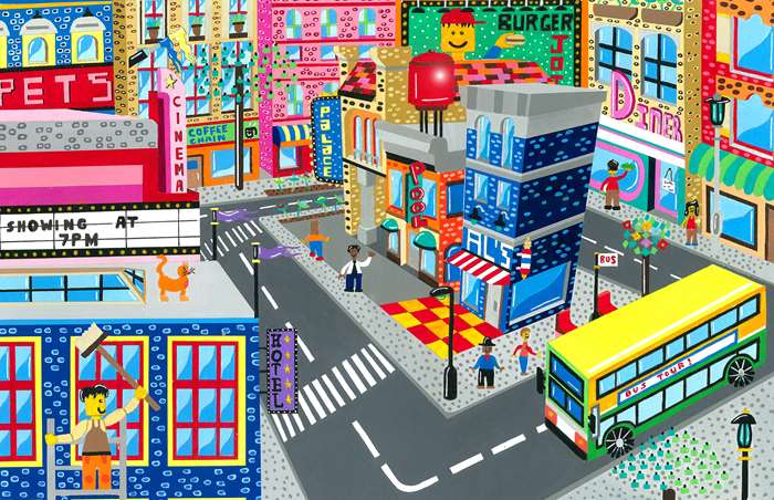 LEGO cityscape illustration