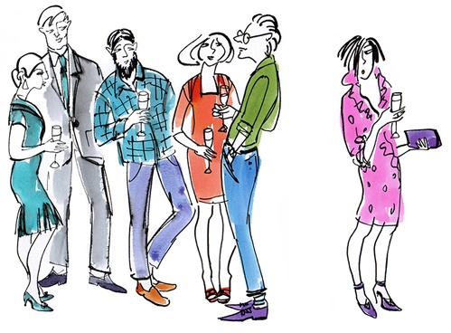 Coloured line drawing of people