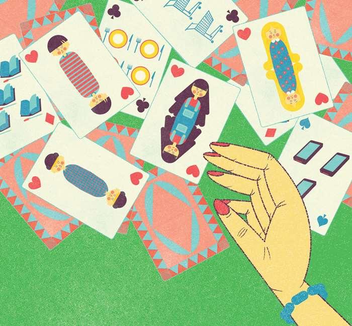 Shuffle Cards Retro Art For Family Magazine