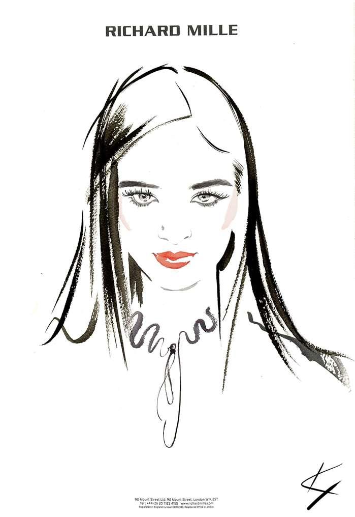 Elegant woman line art