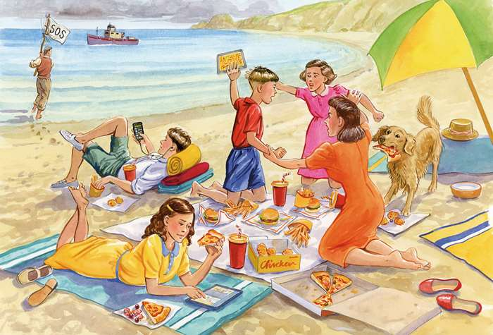 Vintage art of humorous family beach scenario