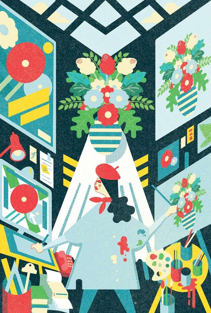 Vibrant illustration of multitasking artist