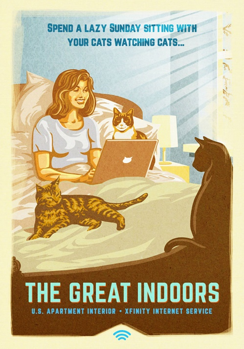 Woman in bed with lots of cats & laptop