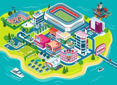 Illustrated Map For Sky Sport City