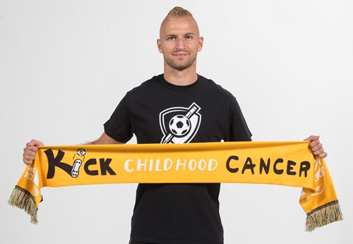 Soccer player holding kick childhood cancer printed scarf