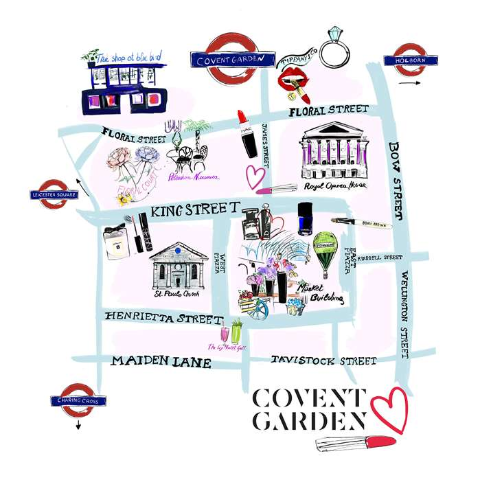 Illustrated Map Of The Shops Of Covent Garden