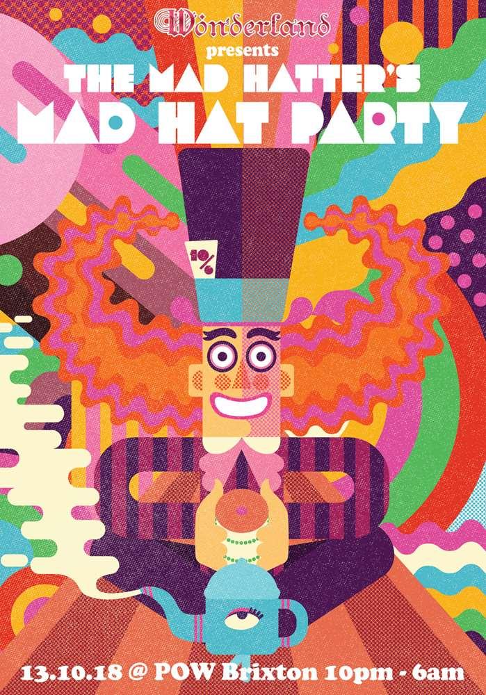 Mad Hater Party Event Poster - Wonderland Illustation