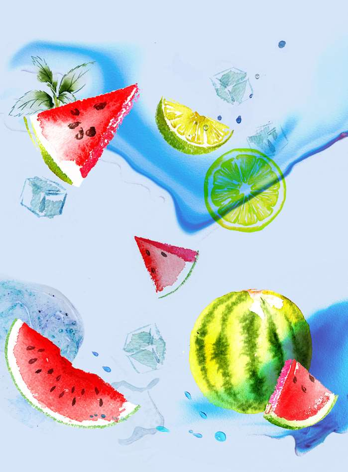 Watercolour painting of Watermelon & Lemon slices