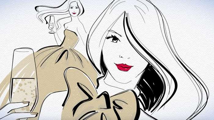 Fashion illustration of lady holding glass