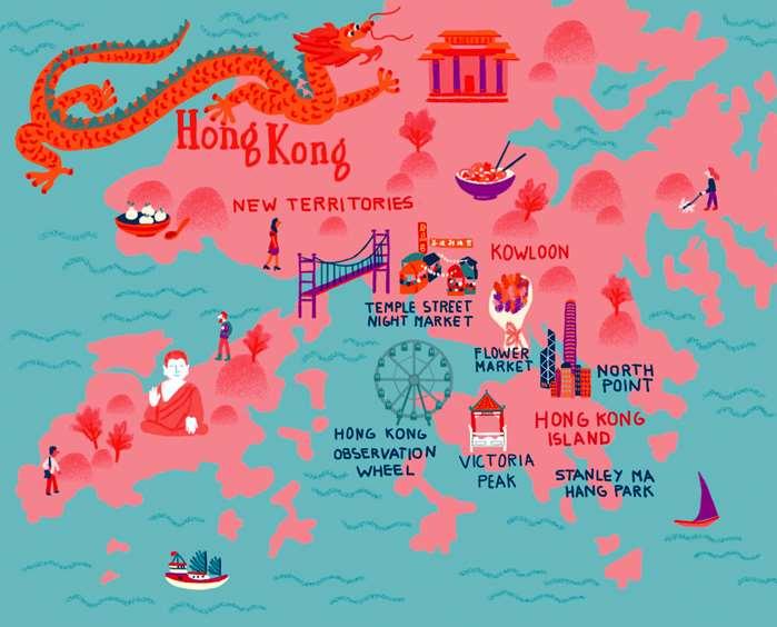 Map illustration of Hong Kong