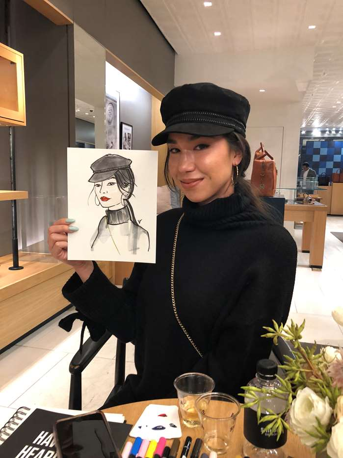 Live Event Drawing of Girl wearing Cap
