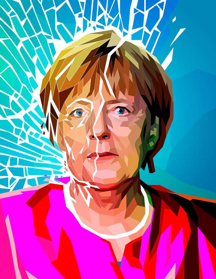 A colorful Portrait of Angela Merkel