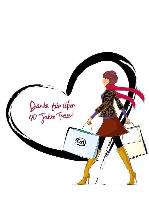 illustration of fashion girl in C&A shopping event