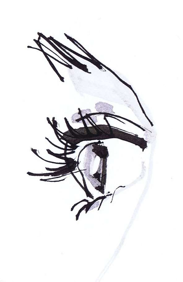 live event drawing of an eye by Jacqueline Bissett