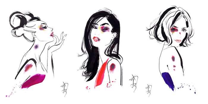 Female victims of domestic violence watercolor illustration