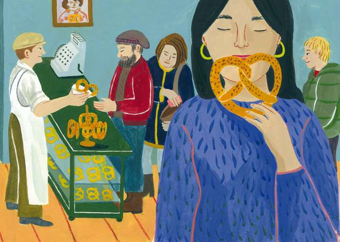 Woman at bakery shop illustration