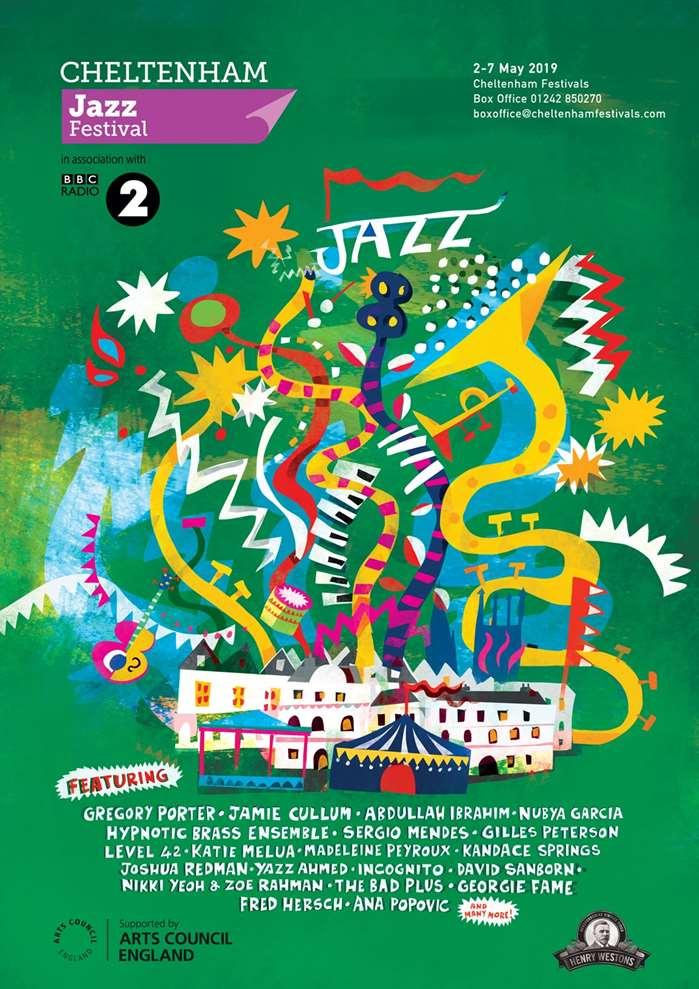 """Illustrated poster for """"The Cheltenham Jazz Festival"""""""