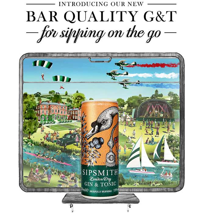 sipsmith's gin in a can illustrations