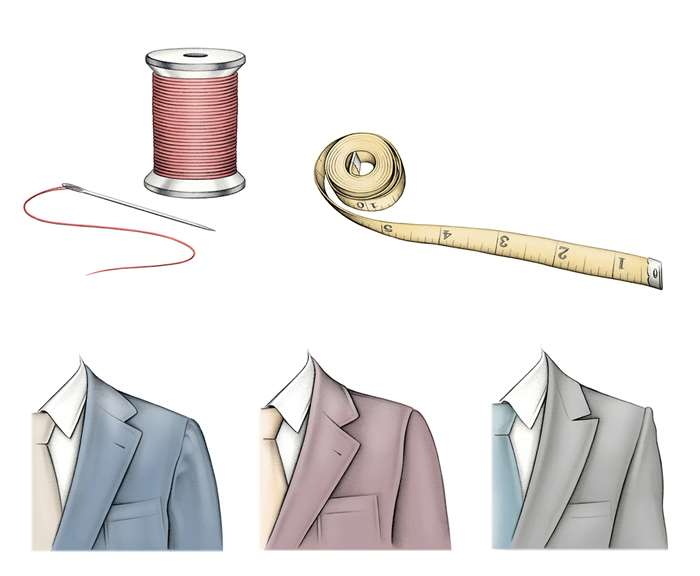 suits, threads and measuring tape