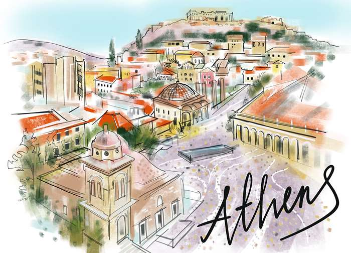 hand drawn athens city