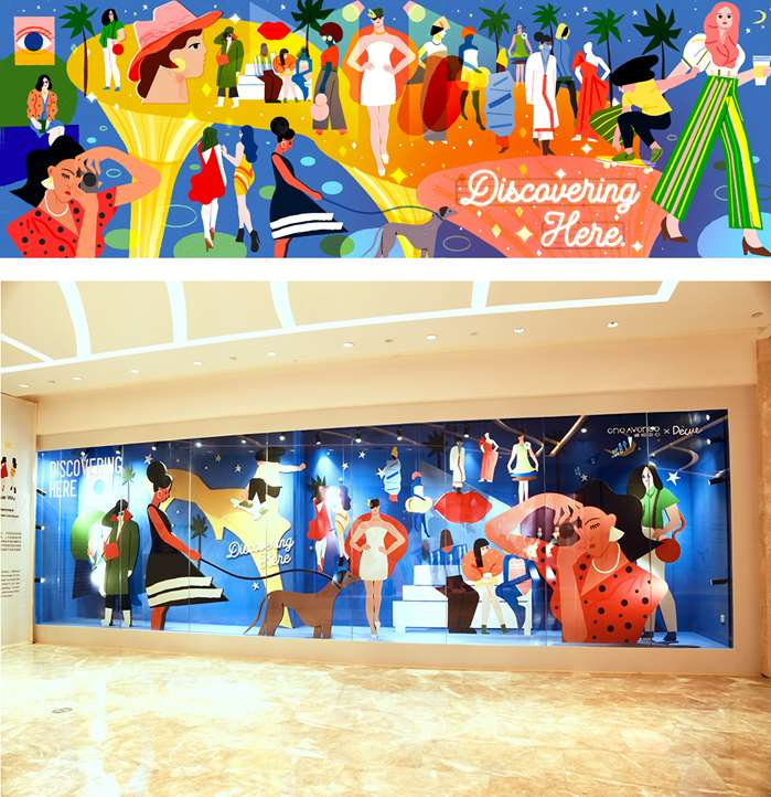 fashion street mural at shenzhen's new mall